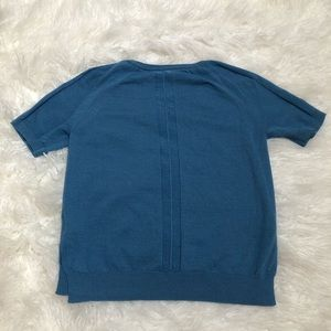 Peserico blue short sleeve crewneck sweater 5786